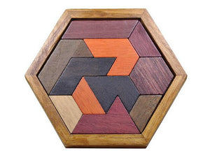 Hexagon colourful wooden puzzle