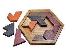 Load image into Gallery viewer, Hexagon colourful wooden puzzle