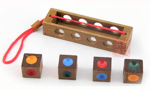 Crazy four colour combination wooden puzzle