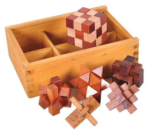 Set of 6 classic wooden puzzles