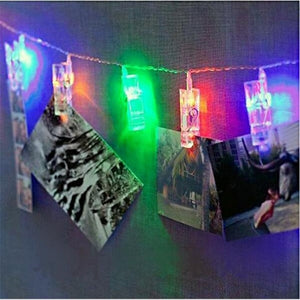 LED photo clips string lights with 10 clips, battery operated