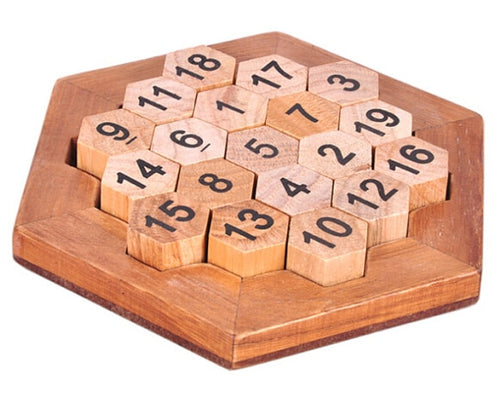 Hexagon math wood puzzle