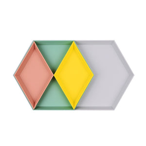 Hexagon colourful storage trays