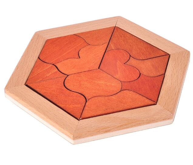Hexagon heart shaped wooden puzzle