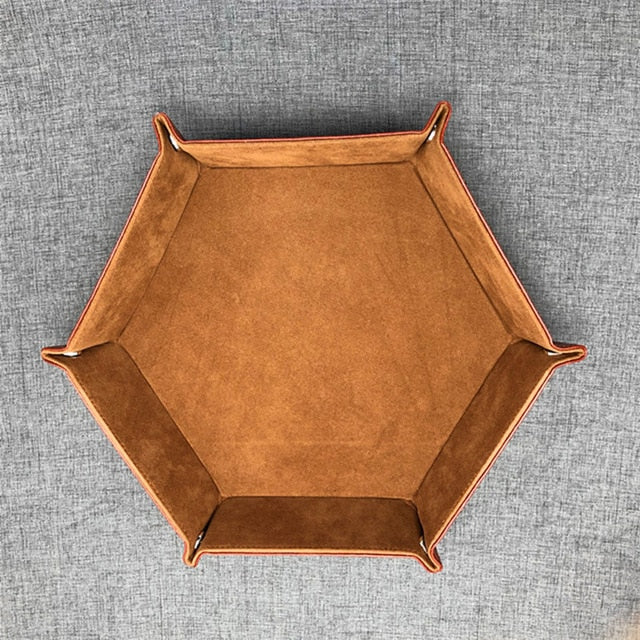 Hexagon velvet cloth foldable tray for dice or game parts (23 cm)