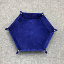 Load image into Gallery viewer, Hexagon velvet cloth foldable tray for dice or game parts (23 cm)