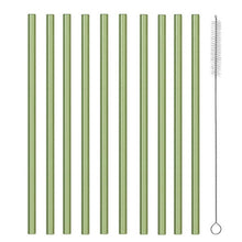 Load image into Gallery viewer, Glass eco friendly straws, choice of 12 colours (Set of 10)