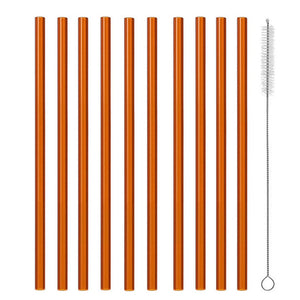 Glass eco friendly straws, choice of 12 colours (Set of 10)