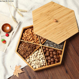 Natural bamboo dried fruit plate with cover