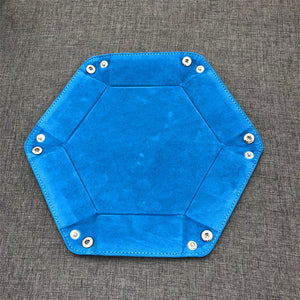 Hexagon velvet cloth foldable tray for dice or game parts (18 cm)