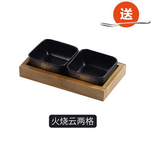 Small ceramic bowls with serving platter tray