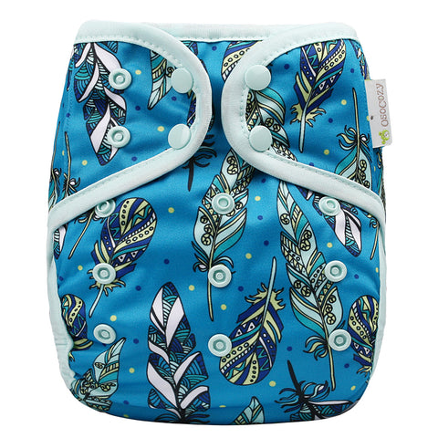 OsoCozy One Size Diaper Cover - Jay Feathers