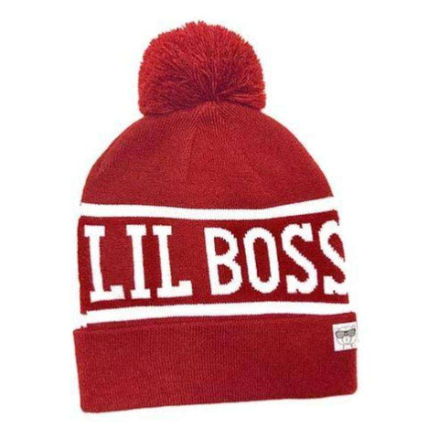 Lil' Boss Red Beanie With Pom