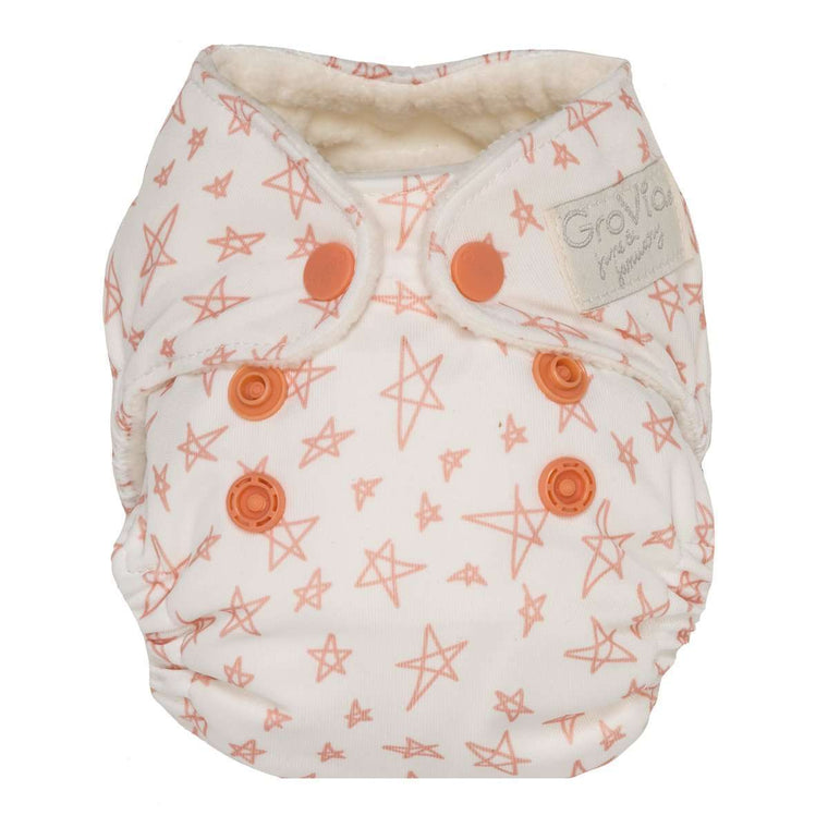 GroVia Newborn All In One Grapefruit Stars