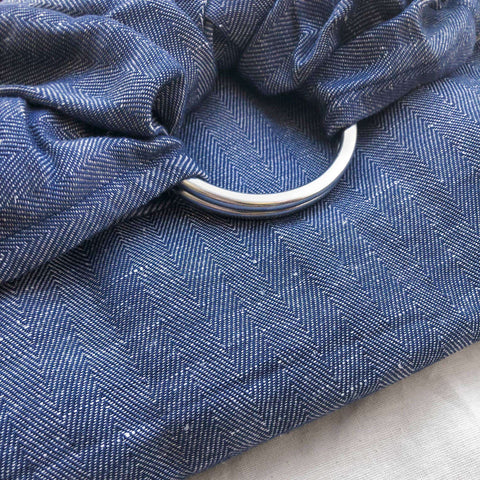 Studio Tekhni Woven Ring Sling Denim with Shiny Silver