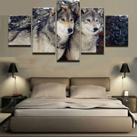Modern Canvas of Wolf Couple
