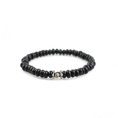 Black Coco Mala Bracelet With Silver Accents