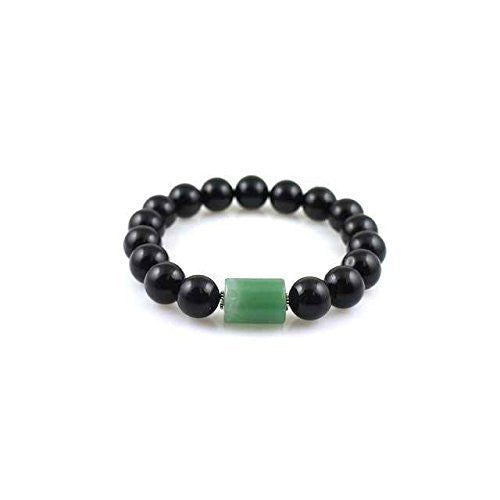 Urban Zen Series: Mala Bracelet With Forest Jade, Black Amber, Silver