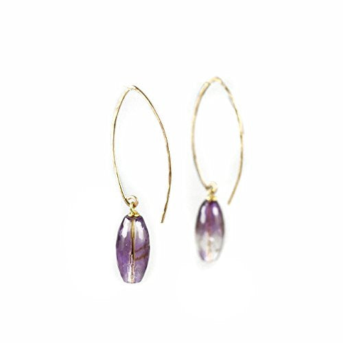 Amethyst Earrings for February Birthstone | Amethyst Earrings with Goldfilled Earwires and Amethysts