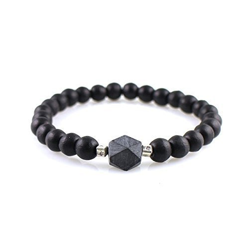 Men's Bracelet with Black Jade (Rare, High Grade), Black Ebony, Fine Silver Accents | Fine Men's Bracelet, Unique Men's Bracelet