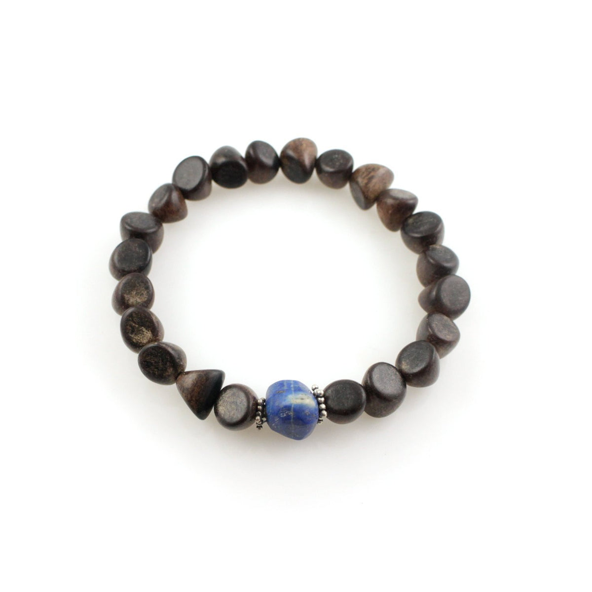 Formless Series: Mala Bracelet with Afghan Lapis Lazuli, Brown Ebony, Sterling Silver Accents (Large - 8 inches)
