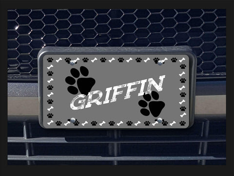 Paws license plate personalized with pet name
