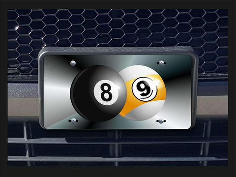 8 'n' 9 balls billiards license plate