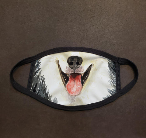 Dog Face Husky Watercolor Face Mask