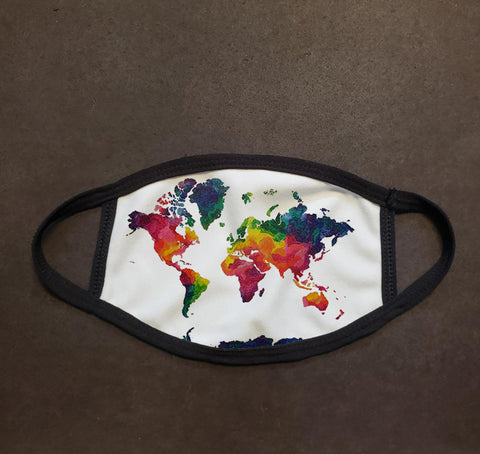 Rainbow World Map Face Mask