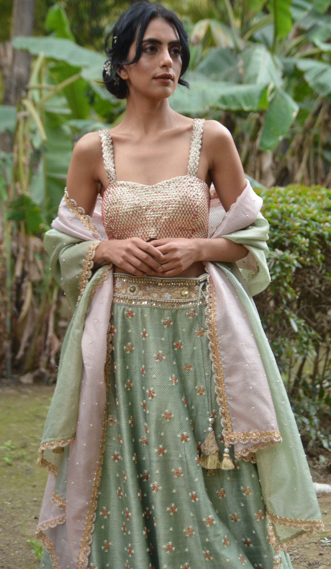 LEATHER BOOTI BUSITER  AND LEHENGA