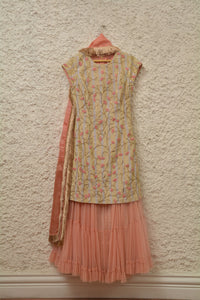 SALE - SUIT WITH NET SHARARA AND BLOCK PRINTED DUPTTA