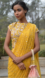 JAIPURI JAAL TUSSER BLOUSE WITH PLAZZOS AND DRAPED DUPTTA