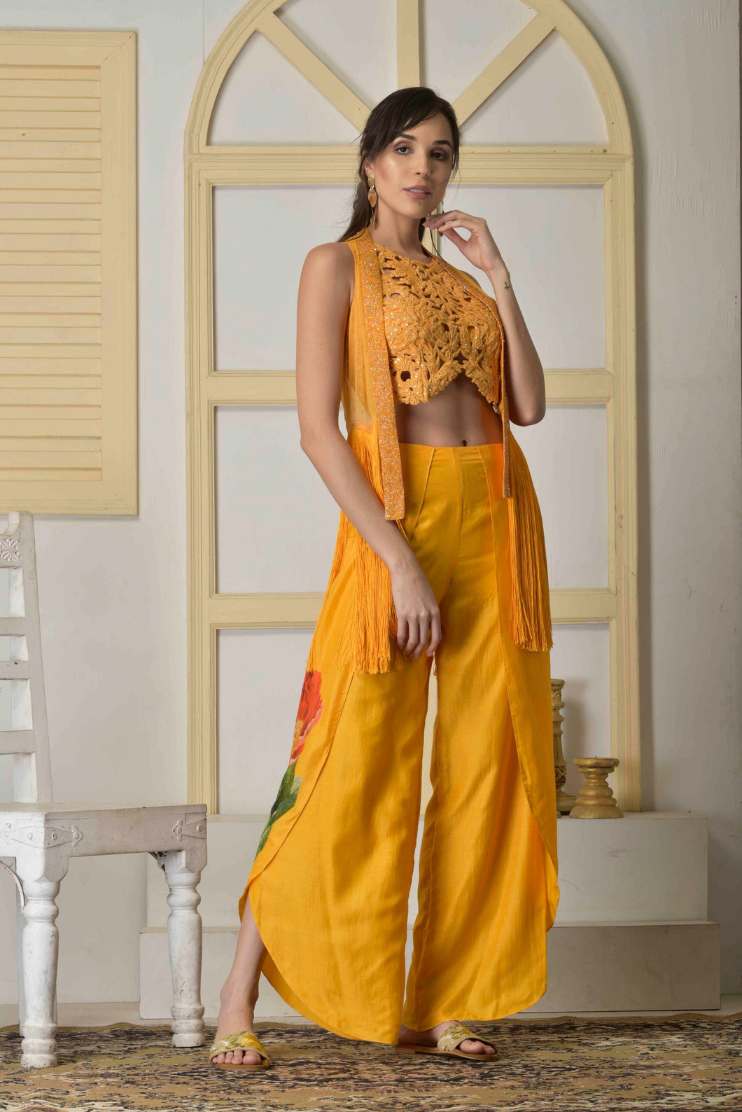 Dori work blouse with cutdana jacket and dhoti pants
