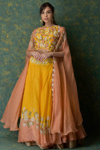 3D Embroidered blouse with moti work lehenga and printed cape