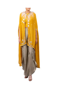 STAR MOON EMBROIDERED CAPE WITH RAW SILK CROPTOP