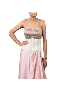 NALKI BUSTIER WITH DRAPED SKIRT WITH ORGANZA ORNAMENTAL EMB CAPE