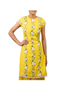 DIGITAL PRINT CHERRY BLOSSOM COTTON SILK KURTI WITH NET SHARARA SKIRT