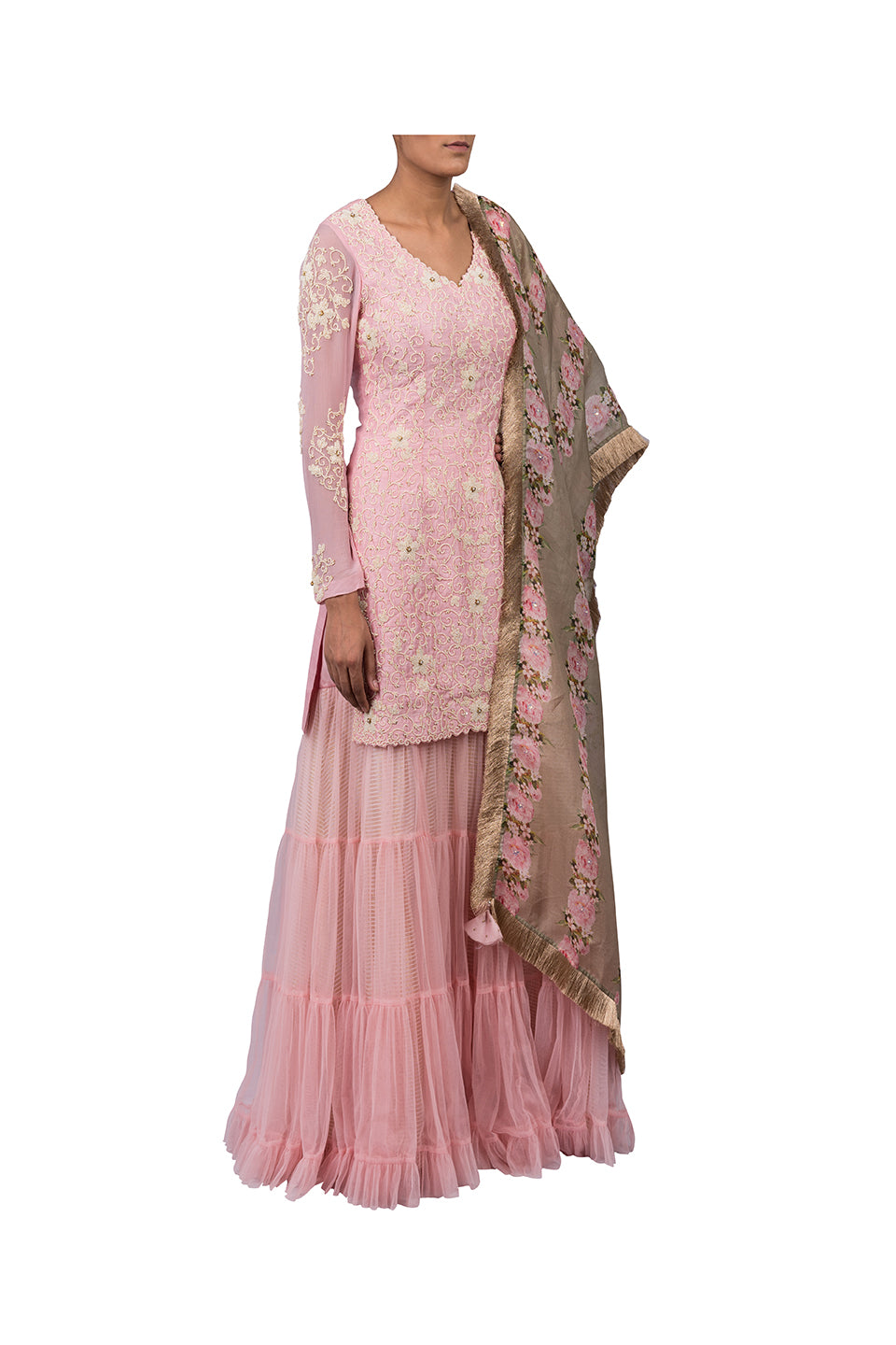 MOTI JAAL SUIT WITH NET SHARARA SKIRT WITH ORGANZA DIGITAL PRINT PEONIES OLIVE GREEN DUPATTA