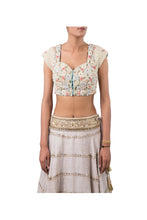 Load image into Gallery viewer, ANCHOR FLOWER WITH PEARL EMBELLISHED BLOUSE AND GREY ORGANZA METAL FLOWER BAIL