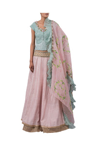 PERSIAN DORI ECO GREEN BLOUSE WITH FRINGES PAIRED WITH 3MOTI PINK RAW SILK LEHENGA