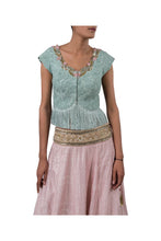 Load image into Gallery viewer, PERSIAN DORI ECO GREEN BLOUSE WITH FRINGES PAIRED WITH 3MOTI PINK RAW SILK LEHENGA