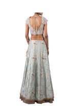 Load image into Gallery viewer, PERSIAN DORI BLOUSE WITH ANCHOR FLOWER SEQ SCALLOP EMB ECO GREEN RAW SILK LEHENGA