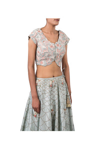 PERSIAN DORI BLOUSE WITH ANCHOR FLOWER SEQ SCALLOP EMB ECO GREEN RAW SILK LEHENGA