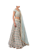 Load image into Gallery viewer, MOTI BARFI BLOUSE WITH CIRCULAR ROSE SCALLOP LEHENGA AND ORGANZA STRIPE DUPATTA