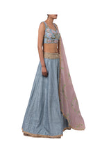 Load image into Gallery viewer, 3D FLOWER INCUT BLOUSE AND 3MOTI CHEETA RAW SILK LEHENGA