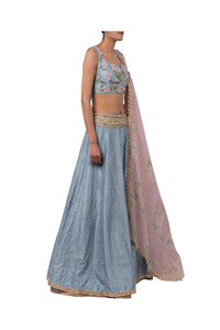3D FLOWER INCUT BLOUSE AND 3MOTI CHEETA RAW SILK LEHENGA