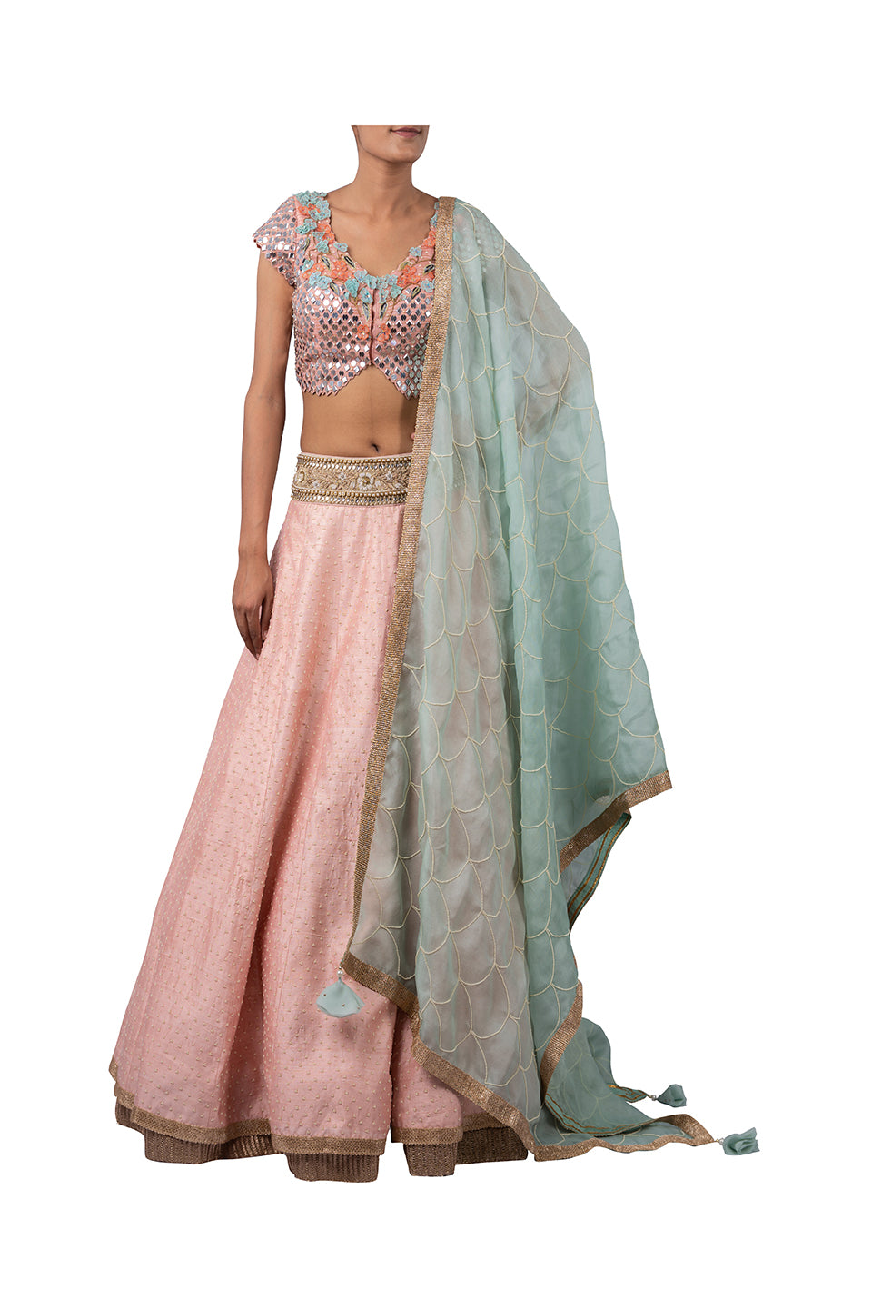 MIRROR EMBROIDERY BLOUSE WITH 3 MOTI CHETA RAW SILK GAJARI LEHENGA WITH ECO GREEN ORGANZA