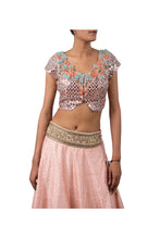 Load image into Gallery viewer, MIRROR EMBROIDERY BLOUSE WITH 3 MOTI CHETA RAW SILK GAJARI LEHENGA WITH ECO GREEN ORGANZA