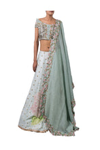 Load image into Gallery viewer, GEOMETRIC NALKI DOUBLE OFF SHOULDER BLOUSE AND 1 PRINTED HILIGHTED HYDRINGIA LEHENGA