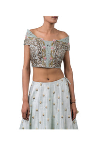 GEOMETRIC NALKI DOUBLE OFF SHOULDER BLOUSE AND 1 PRINTED HILIGHTED HYDRINGIA LEHENGA